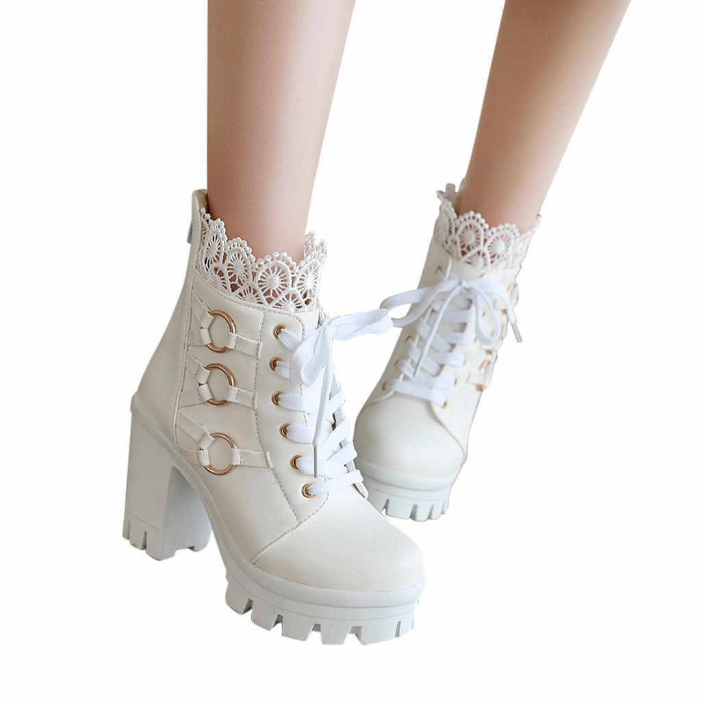 Mode Winter Spitze Reine Farbe Mit Hohen Absätzen Frauen Stiefeletten Partei Schuhe frauen Plattform Warm Halten echtem leder Schnee stiefel