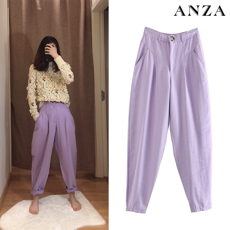 Za 2020 New Women Long Pants With High Wasit Harem Pant Solid Candy Color England Casual Summer Ankle Length Violet Jeans