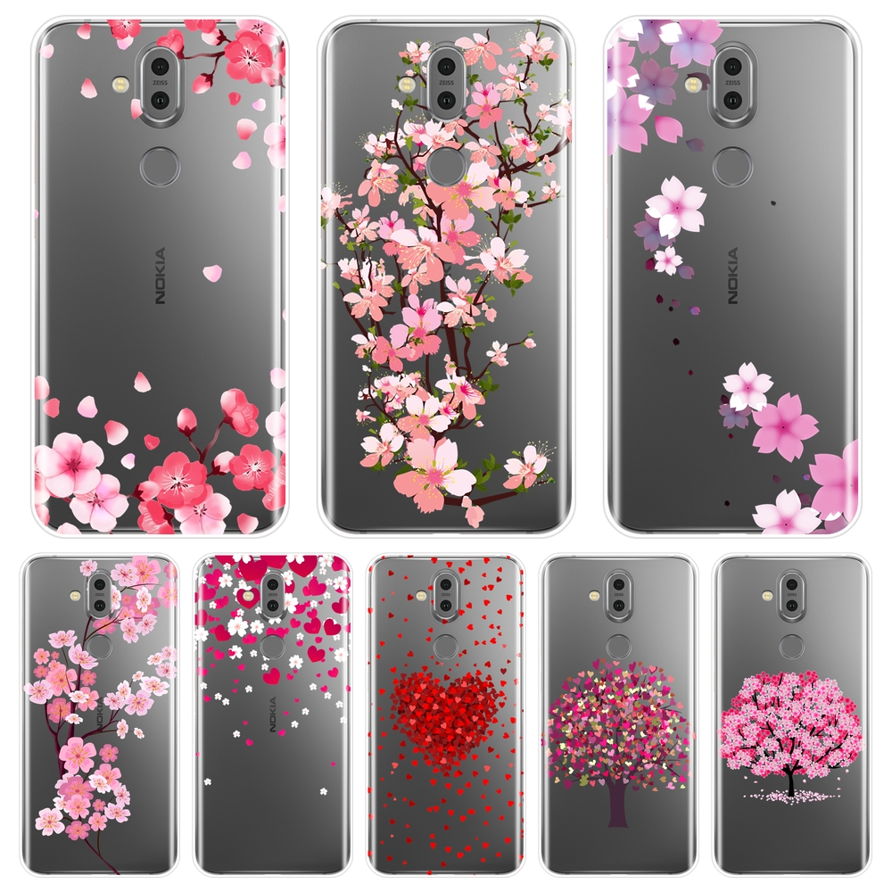 Soft Silicone Phone Case For <font><b>Nokia</b></font> <font><b>7.1</b></font> 6.1 5.1 3.1 2.1 Flower Heart Pink Red Love <font><b>Back</b></font> <font><b>Cover</b></font> For <font><b>Nokia</b></font> <font><b>7.1</b></font> 6.1 5.1 3.1 2.1 Plus image