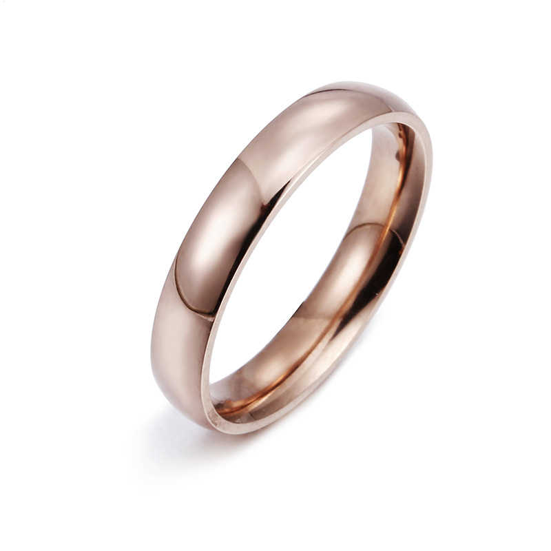 ローズゴールドステンレス鋼リング女性のためのジュエリーゴールドリング男性カップルの婚約指輪男性の結婚式約束リング女性ギフト