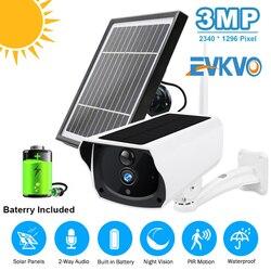 IP-камера 3 Мп с солнечной панелью и аккумулятором, беспроводная водонепроницаемая Wi-Fi камера видеонаблюдения с пассивным ИК датчиком движен...