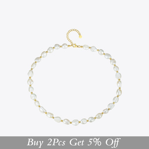 Image 2 - ENFASHION Natural Pearl Choker Necklace Women Gold Color Stainless Steel Irregular Pearl Necklace Fashion Femme Jewelry P193050