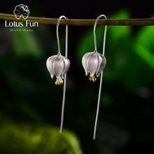 Lotus fun eterno amor tulipa flor balançar brincos real 925 prata esterlina artesanal jóias finas brincos para mulher bijoux
