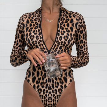 Long Sleeved, Rash Guard, Snake Skin, Leopard Print, Zippered One Piece Swimsuit 2