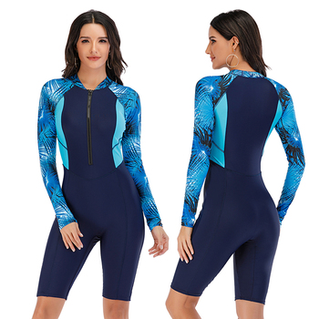 Mesh Front Long Sleeve Swimwear Sport Surfing Swimming Suit 2