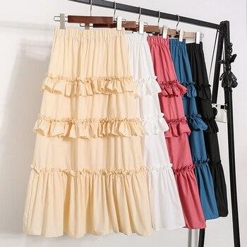 Summer pleated chiffon skirt women high waist ruffle casual cake skirt ladies cotton fairy long party skirt female box pleated chiffon skirt