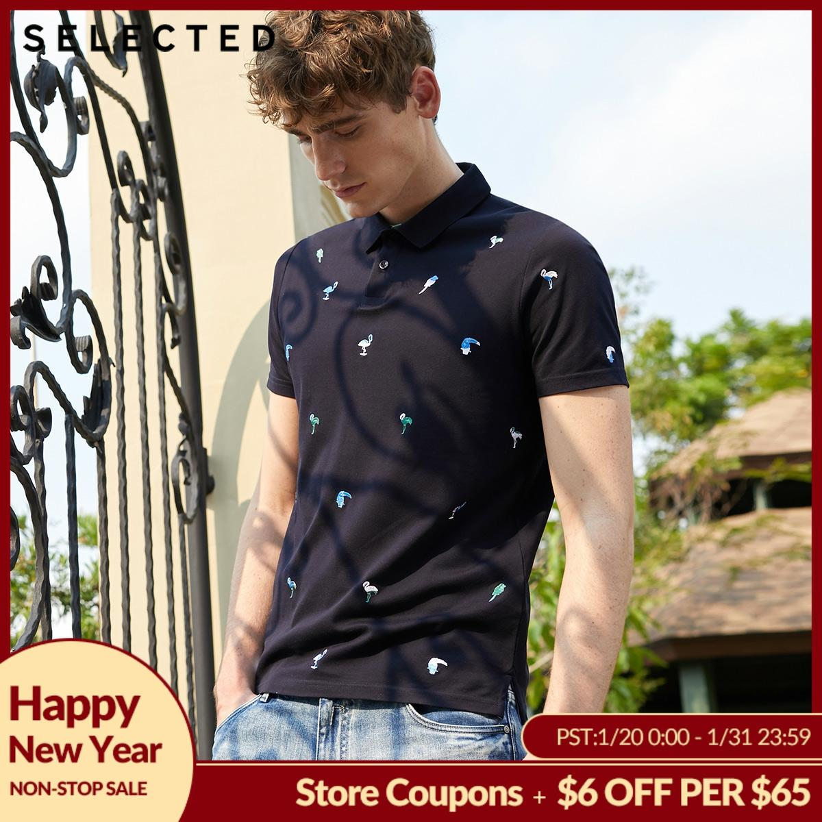 SELECTED Men's 100% Cotton Embroidered Turn-down Collar Short-sleeved Poloshirt S|419206540
