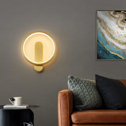 Best Selling New Led Wall Lamp Indoor Brass Nordic Modern Art Staircase Lighting Home Decoration Living Room Bedside Aisle Lamp