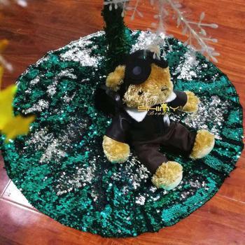 1pc kolorowe zielony aby srebrny spódniczki na choinkę cekiny wesołych świąt dla domu drzewa spódnice nowy rok Decoration-0905C tanie i dobre opinie