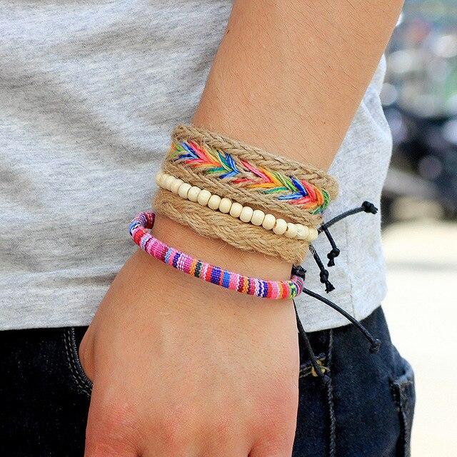 4 pièces/ensemble nouveau fait à la main Boho bois perle Bracelet Bracelet femmes hommes bohème réglable multicouche tressé corde Bracelets 2020