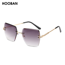 HOOBAN Stylish Rimless Sunglasses Women Vintage Square Gradi