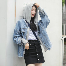 Denim Coat Female 2020 New Spring Autumn Loose Personalized Stitching Sweater Hat Fake Two Student Jeans Jacket Women Ceket(China)