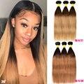 Прямые бразильские волосы Омбре, пряди, медовый блонд, Реми, Омбре, пряди для наращивания, 3, 4 пряди