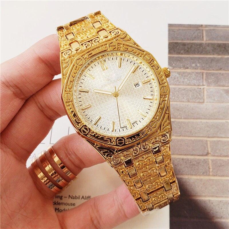 Luxury Brand Latest Design Men's Watch Three-dimensional Carved Case ap Quartz Wristwatches Movement aaa Men Watches Clock 2020
