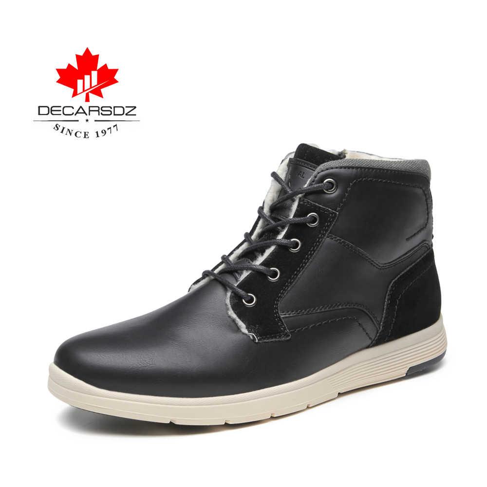 DECARSDZ 2020 erkek kar botları erkekler sıcak kış çizmeler erkek yeni moda ayakkabılar erkek ayak bileği kürk Botas erkek marka konfor erkekler bayan botları