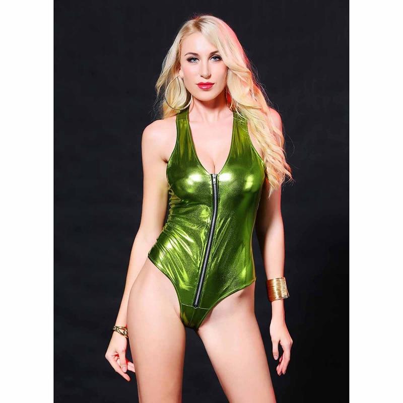 Sexy Latex PVC Teddy sleeveless lingerie bodysuit lady Wet look Zipper Catsuit Gothic Faux Leather Women Fetish erotic Clubwear