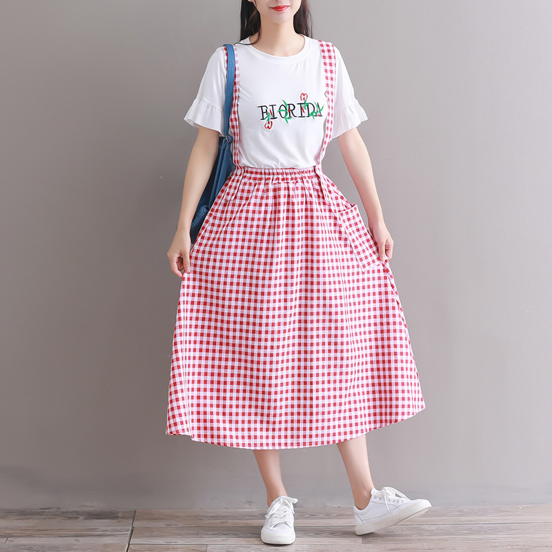 Photo Shoot Mori Girl Line 2018 Summer New Style Hipster Suspender Strap Skirt
