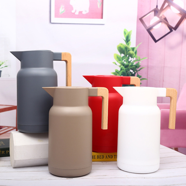 1L Large Household Hot Water Pot Kettle Glass Vacuum Flasks Insulation Thermos Office Coffee Thermal Warmer Bottles Double Wall 1
