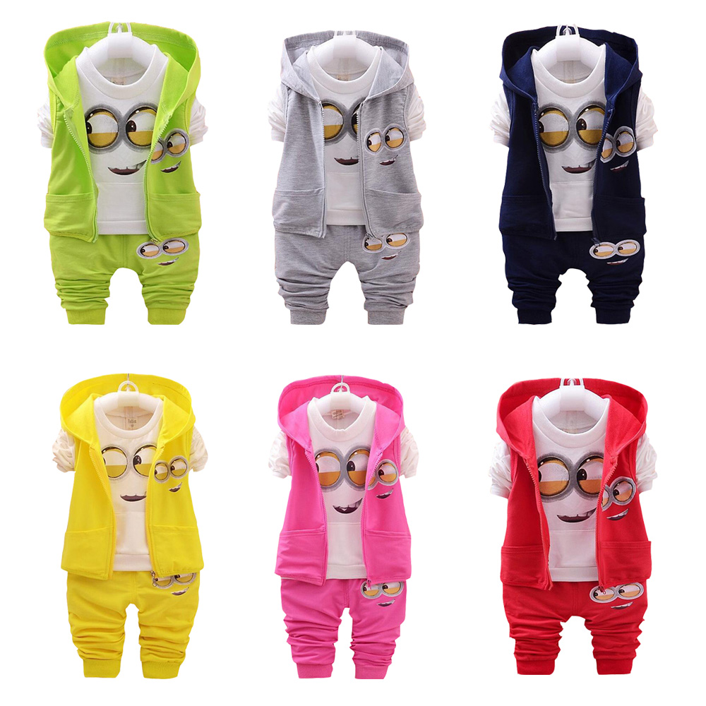 Leisure Baby Boy Clothing girl Suit Spring Autumn Cartoon Hooded Vest+Length Seleeve Top+Pants 3-piece suit Fashion 1-3Years Old