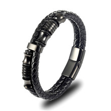 Popular titanium steel leather braided bracelet personality men's stainless steel plated black magnet buckle leather bracelet