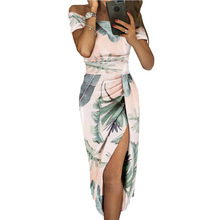 LOUIS JASON New Dress Womens Print Sexy Off Shoulder Short Sleeve High Waist Hem Split Medium Length Dress Robe Femme Sukienki