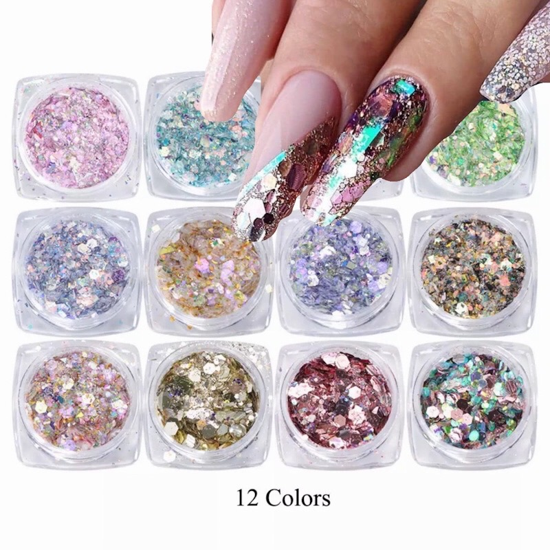12 colour Nail Glitter Mix Powder Sequins Nail Sparkles Shiny Makeup Glitter Dust Nail Art Decoration Nails Set Arts