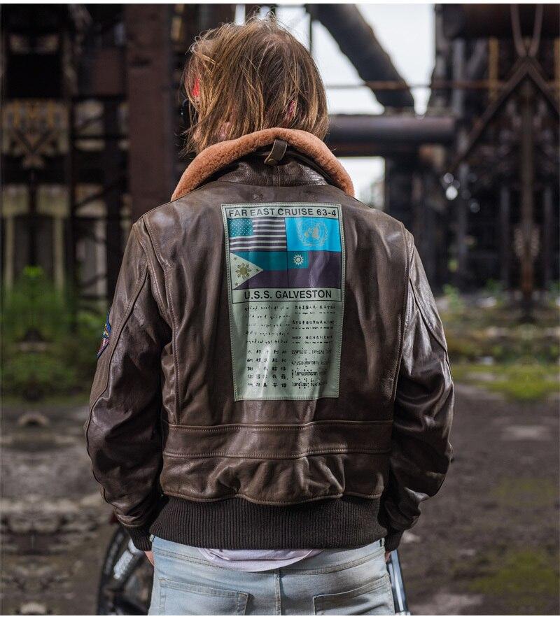 2020 Brown Men Top Gun G1 Pilot Leather Jacket Wool Collar Plus Size XXXL Genuine Cowhide Short Aviator Leather Coat