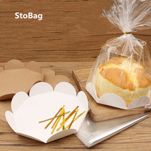 StoBag 20pcs Handmade Cake Packaging Bag 6/8 Inch Cupcake Embry Toast Snack Bread Baking Transparent West Point Packaging Box