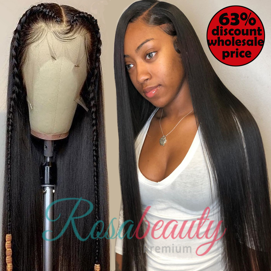 Rosabeauty Straight Hair 13*6 Lace Front Human Hair Wigs Brazilian Hair Pre-plucked For Black Women 28 30Inch 360 Frontal Wigs