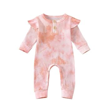 0-24M Autumn Newborn Infant Baby Girls fashion Long Sleeve Tie-Dye Printed Ruffles Rompers Jumpsuits Knitted Infant Clothes autumn winter chidlren sweaters for newborn baby girls cardigans fashion white long sleeve toddler infant knitted jacket clothes