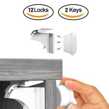 12 + 3 قطعة حماية الطفل قفل مغناطيسي أقفال أمان للأبواب لحماية الأطفال مهاجم المغناطيس أقفال شائعة الاستخدام خزانة ودرج الغرف المنزلية