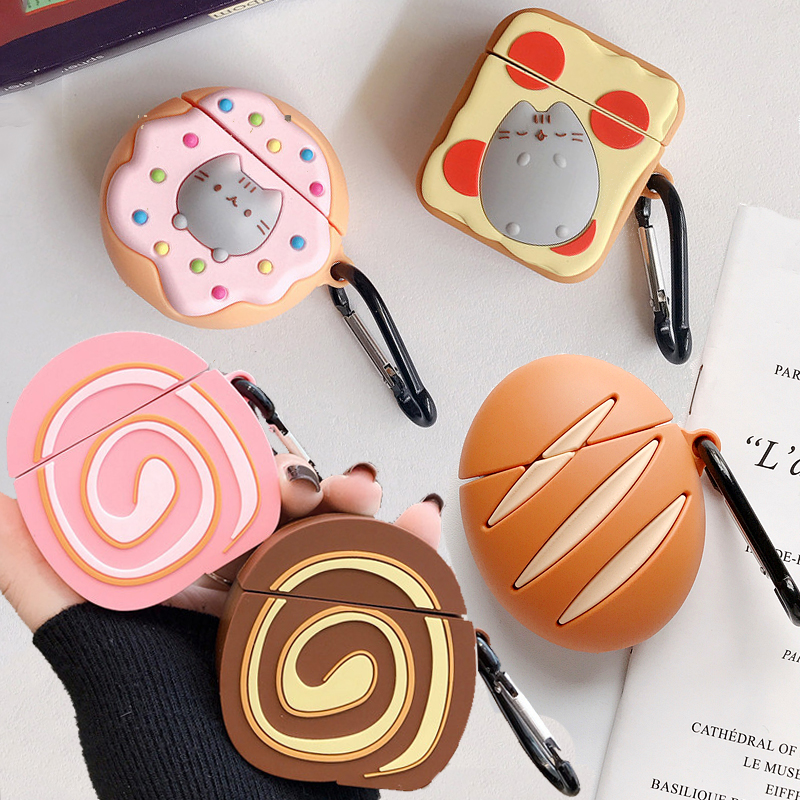 For Apple AirPods Egg Cake Roll Couple Case 3D Cute Cartoon Cat Donut Toast Bread Butter Wireless Earphone Cover For Airpods 2