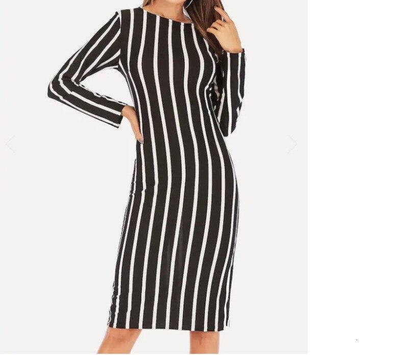 RICORIT 2019 трикотажное Полосатое Платье с длинным рукавом и круглым вырезом, женское модное Повседневное Платье средней длины