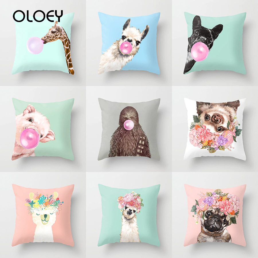 Cartoon Animal Unicorn Decorative Throw Pillows Case Cushion Cover Home Decor Giraffe  Car Waist 45x45cm Llama Alpaca Party   ..