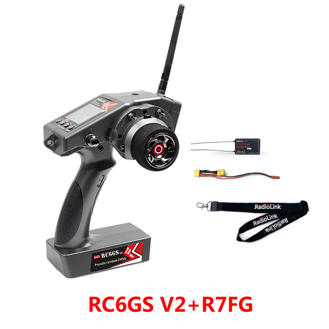 RadioLink RC6GS V2 2.4G 6CH Controller Transmitter with R7FG Gyro Receiver for RC Car Boat toys remote Radio transmitter