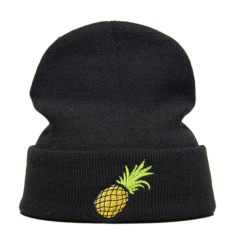 New Beanie Hat Skullie Cap Slouchy Winter Embroidery Cool Punk Men Women Teen Street Dance Funny Personalized Pineapple Foodie