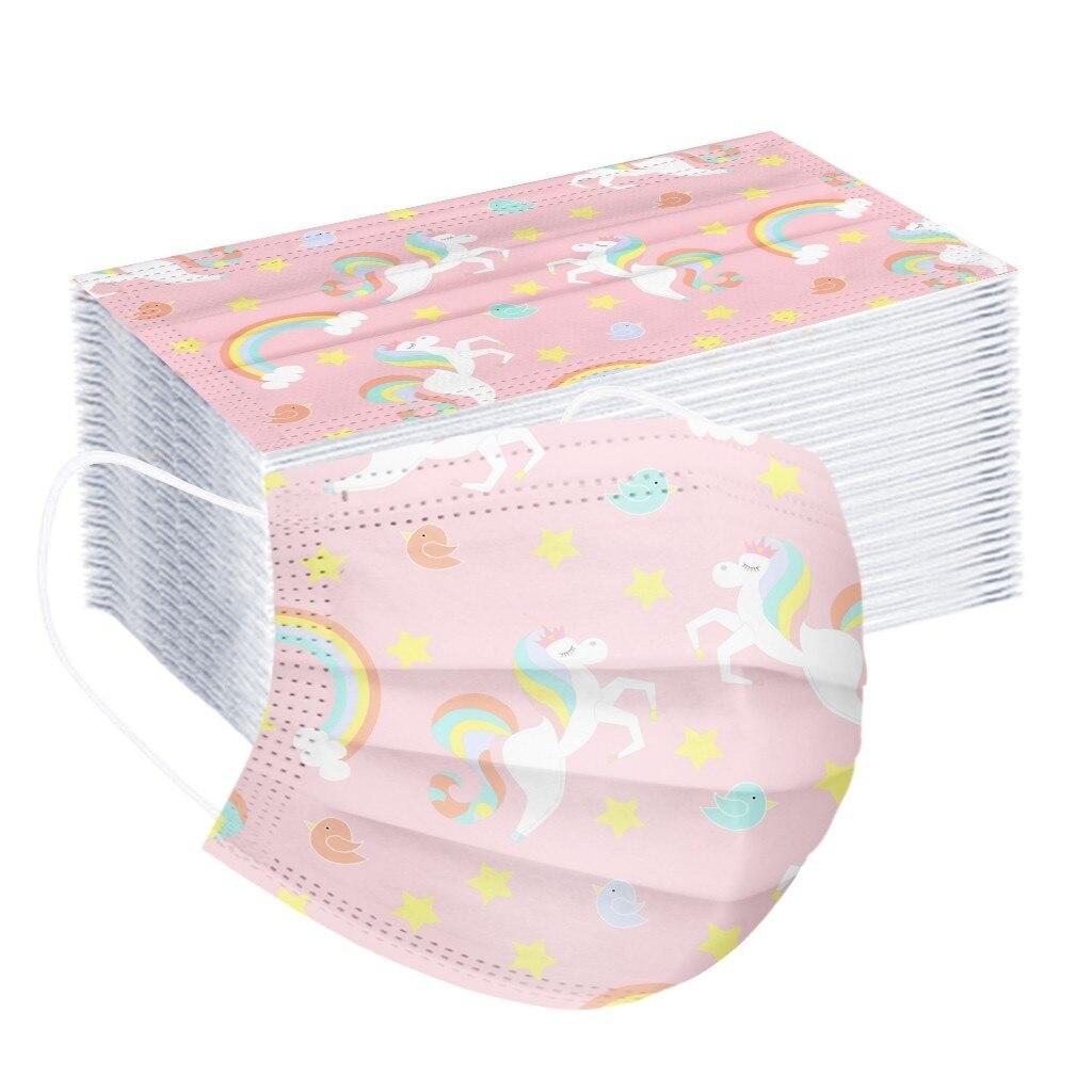 50/100 pces crianças máscara descartável adorável impressão máscaras faciais 3 camada filtro de dobra não wove dustproof protetora crianças máscara boca