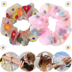 New Rural Cultural Design Hair Scrunchies Organza Gauze Elastic Hair Bands for Women Girls Hair Rope Rings Ties Wrist Decor