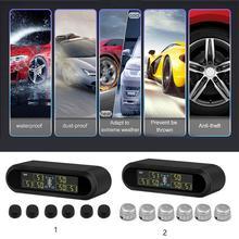 Car TPMS Tire Pressure Monitoring RV Automatic Alarm System USB/Solar Charging Temperature Warning 6 Sensors