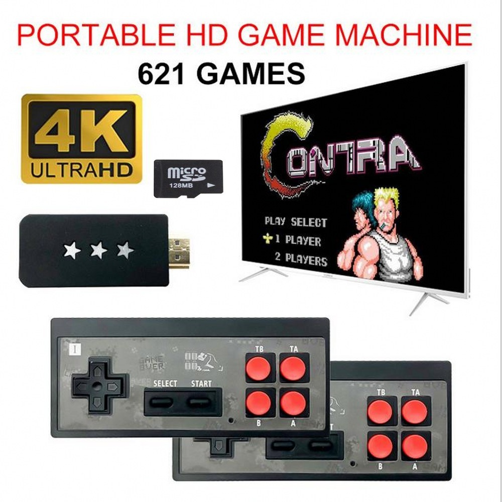 Y2 4K USB Wireless Handheld TV Video Game Console Build In  621 Classic Game 8 Bit Mini Video Console Support AV HDMI Output