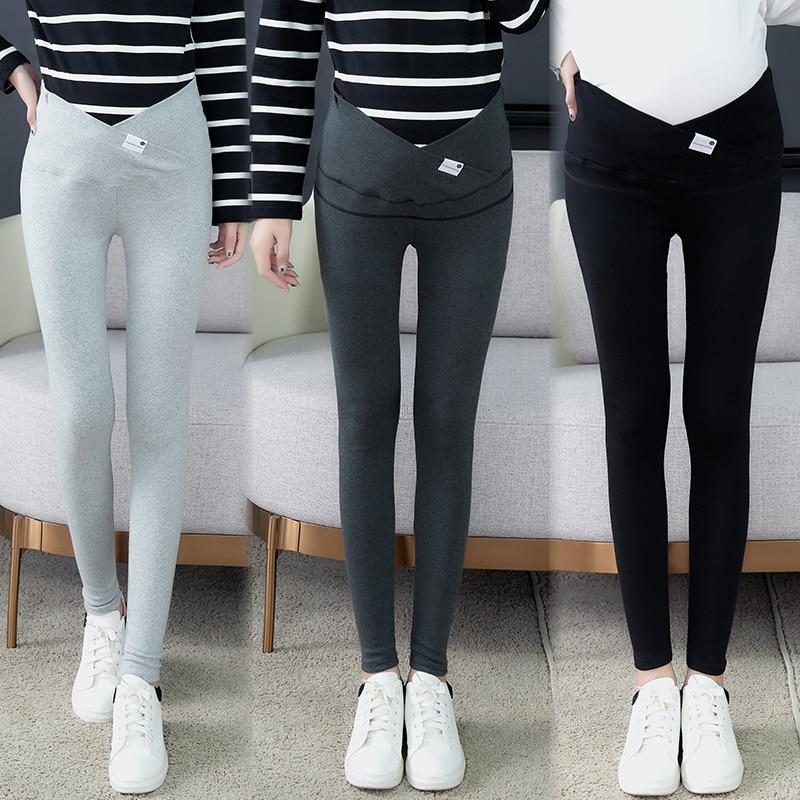 1026# Across V Low Waist Belly Maternity Legging Cotton Skinny Legging Clothes For Pregnant Women Autumn Spring Pregnancy Pants