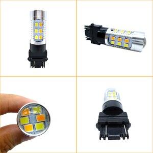 Image 4 - Bombilla LED de doble Color ámbar/blanco para coche, luz de freno, señal de giro de estacionamiento automático, Bombilla trasera T25 12v 24v, 2x3157 3757