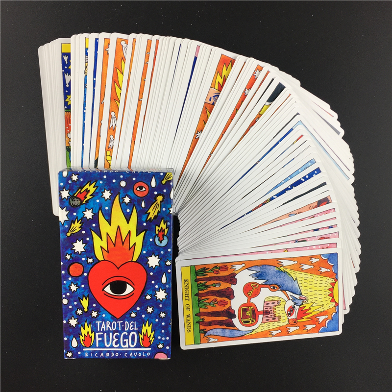 Hot Sell  Tarot Del Fuego  Oracle  Cards Tarot For Deck Oracles Electronic Guide Book Game Toy By Ricardo Cavolo