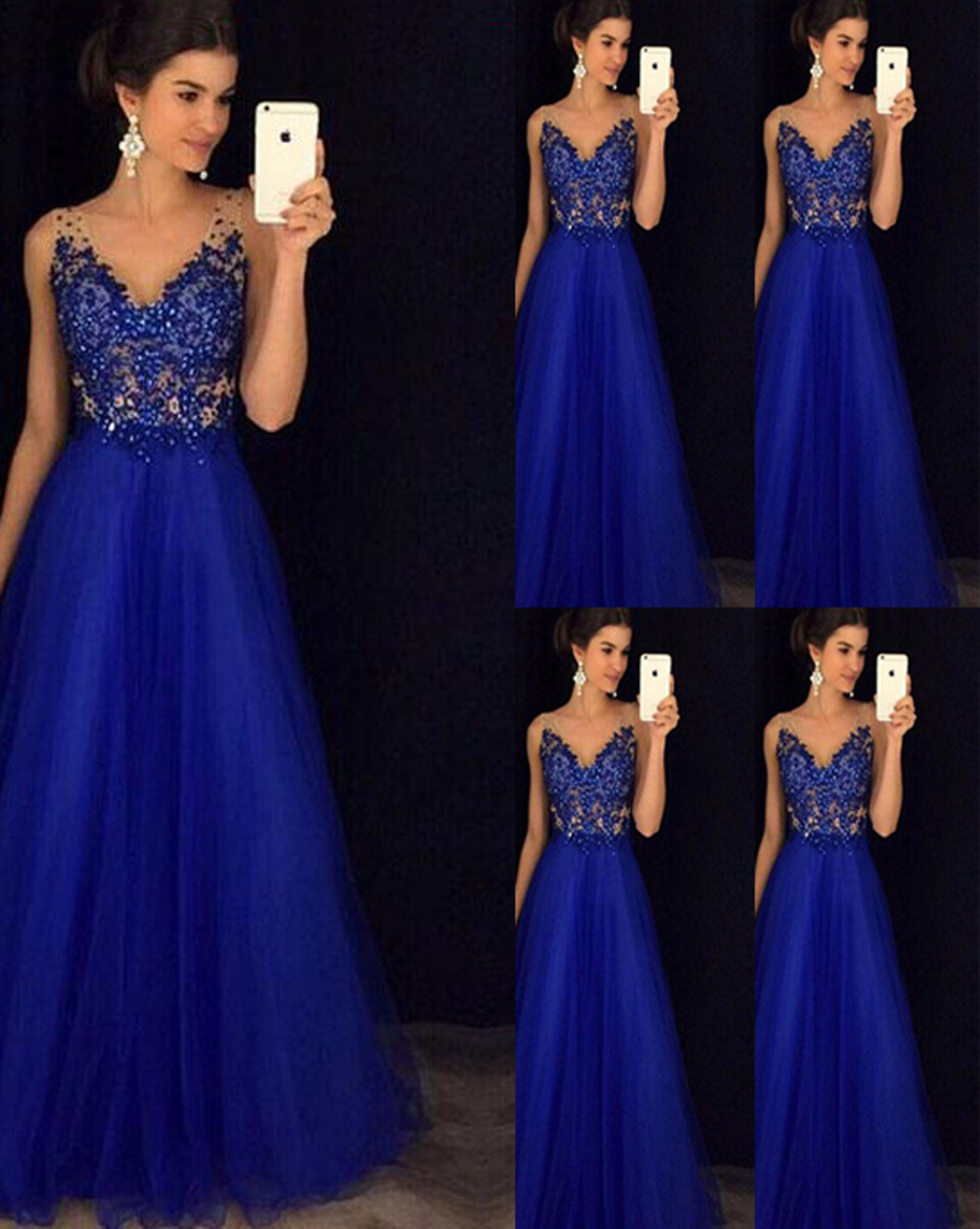 2019 Europe And America Hot Selling Solid Color Embroidered-Sequin Formal One-piece Dress