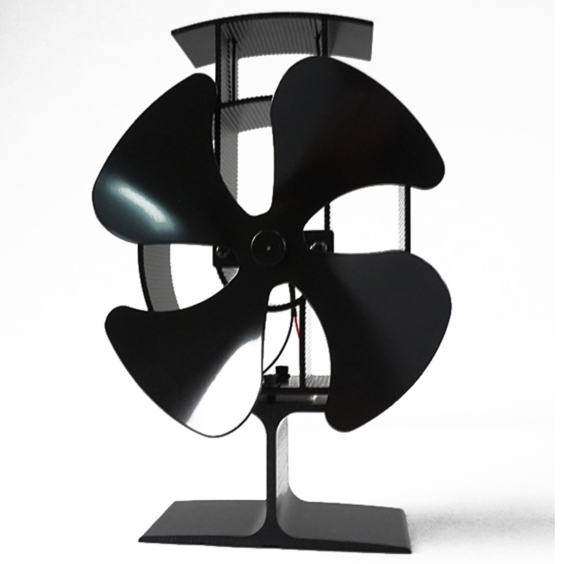 130-150 CFM 4-Blades Black Heater Stove Fan Wood Log Heat Powered Burner Fireplace Heating Cooling And Vents