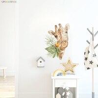 Pegatinas de pared de animales de dibujos animados para habitación de niños, decoración de arte de la pared