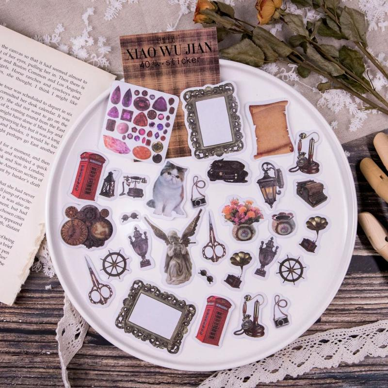 40 Pcs Vintage Stickers Pack Accessories Series Stickers Scrapbooking Album Decoration Bullet Journal Diy Stickers Gift For Kids