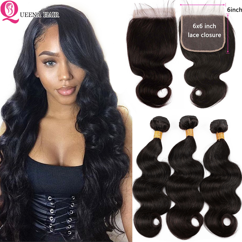 6x6 Body Wave Bundles With Closure 4x4 Transparent Lace Closure And Bundles Remy Peruvian Human Hair Extension With Closure Pre