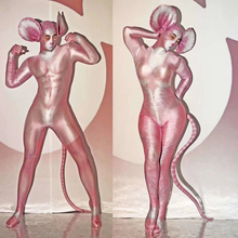 Costume Masked Role-Performance Halloween Pink Women Jumpsuit Stage Cosplay Party Sexy