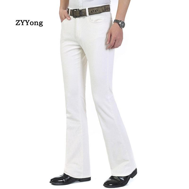 Men's Jeans Trousers Mid Waist Elastic Slim Boot Cut Semi-Flared Bell White Leisure Bottom Denim Pants Casual Full Length Light